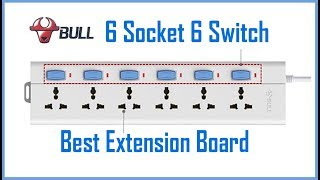 Bull 6 Socket , 6 Switch , 3 M Wire Extension Board