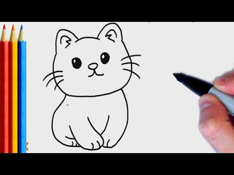 How To Draw Simple Cat Step By Step Tutorial For Kids Youtube