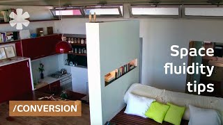 Space-invading apartment: walk-thru shower & fridge-in-drawer