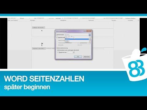Word Seitenzahlen Später Beginnen Anleitung Für Word 2013 Youtube