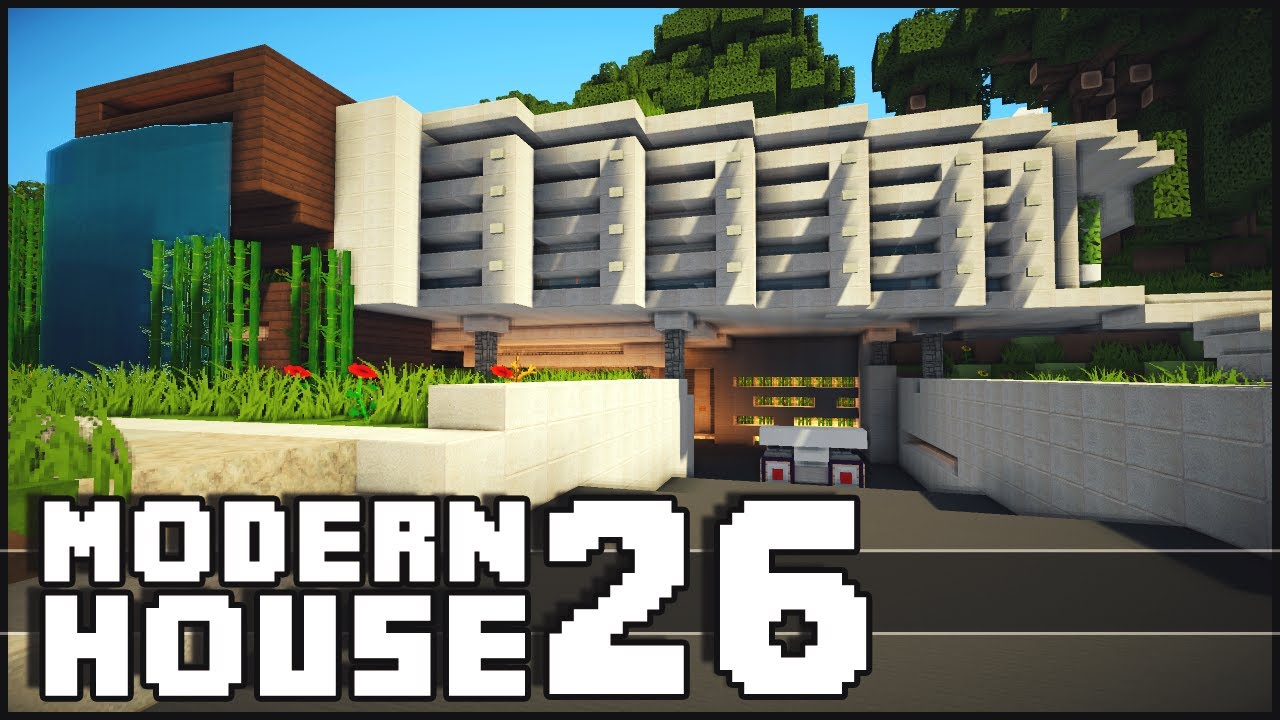 Minecraft modern house 26 youtube for Minecraft modern house 7x7