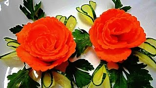 Цветы из моркови! Flowers of carrot! Украшения из овощей! Decoration of vegetables