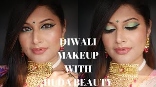 DIWALI MAKEUP TUTORIAL USING NEW HUDA BEAUTY EMERALD OBSESSIONS PALETTE | FESTIVE INDIAN MAKEUP 2018