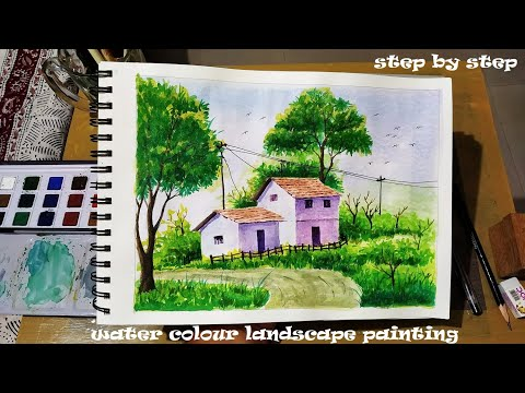 Landscape # Water Colour scenery painting for kid's # by Yogesh patil