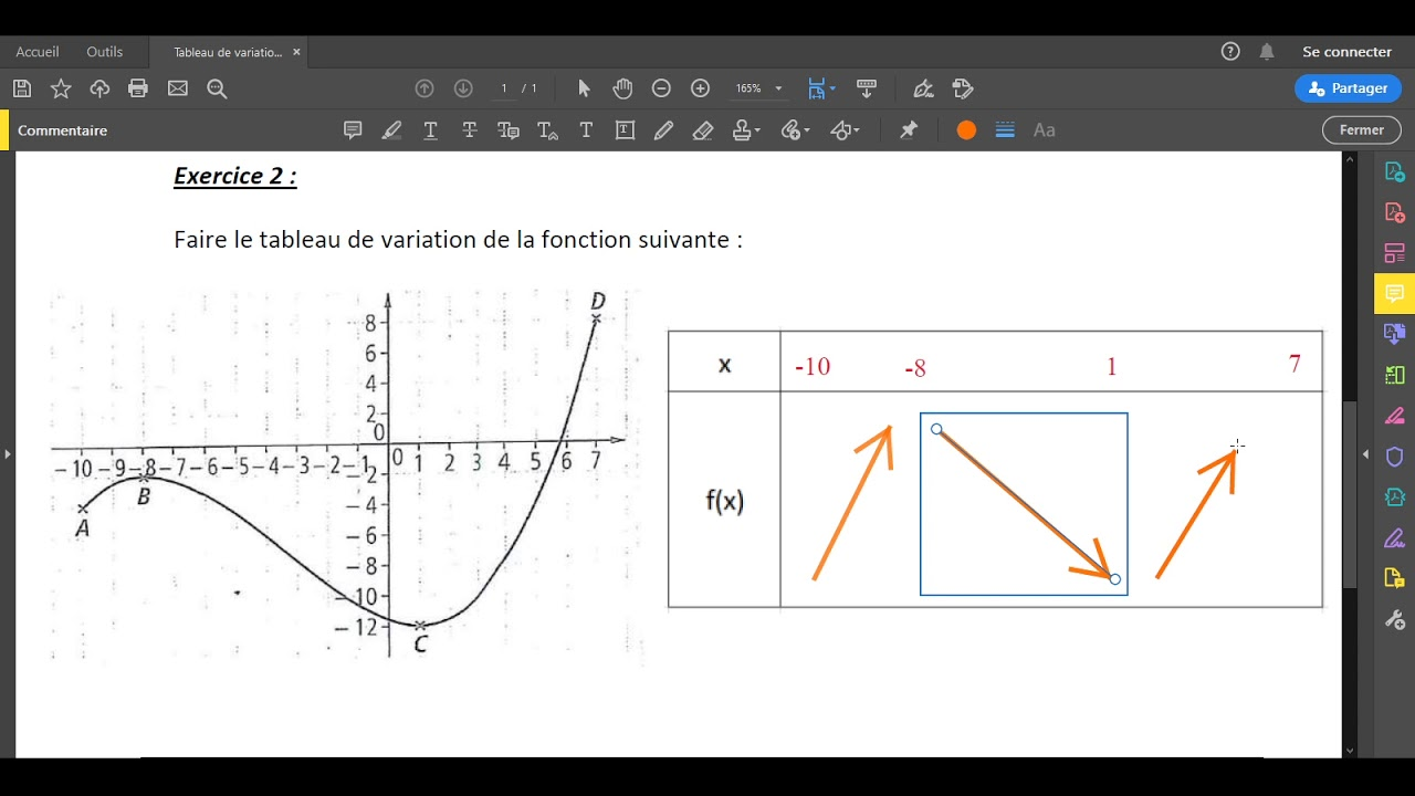 correction exercice tableau de variation - YouTube