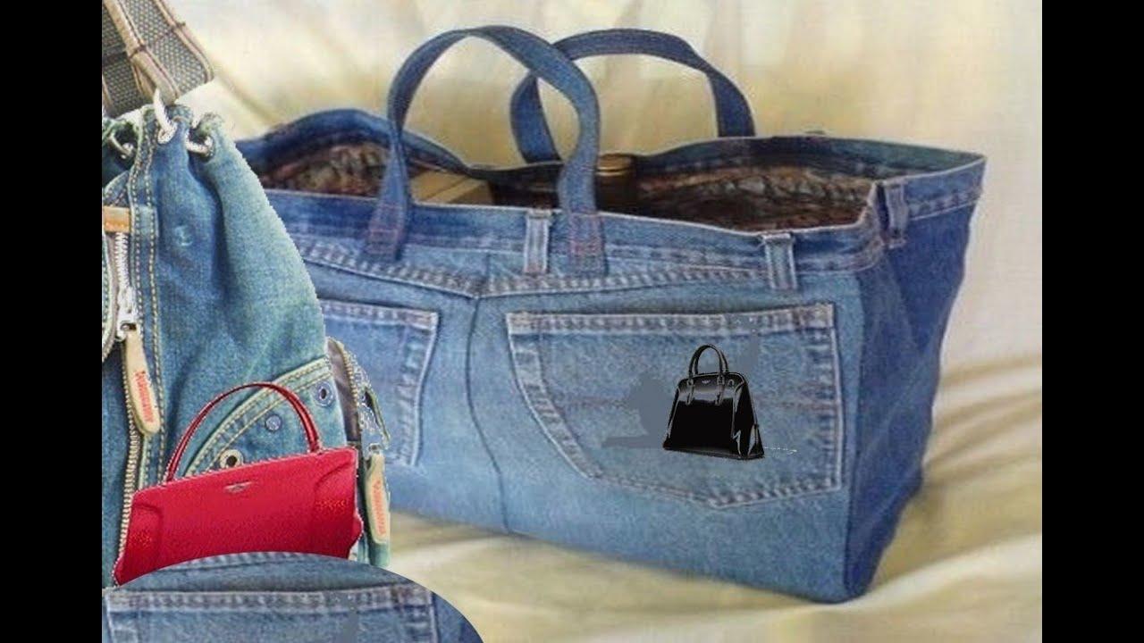 cd639eb9e6907 أصنع بنفسك حقيبة من بنطلون قديم bag from Old jeans - YouTube