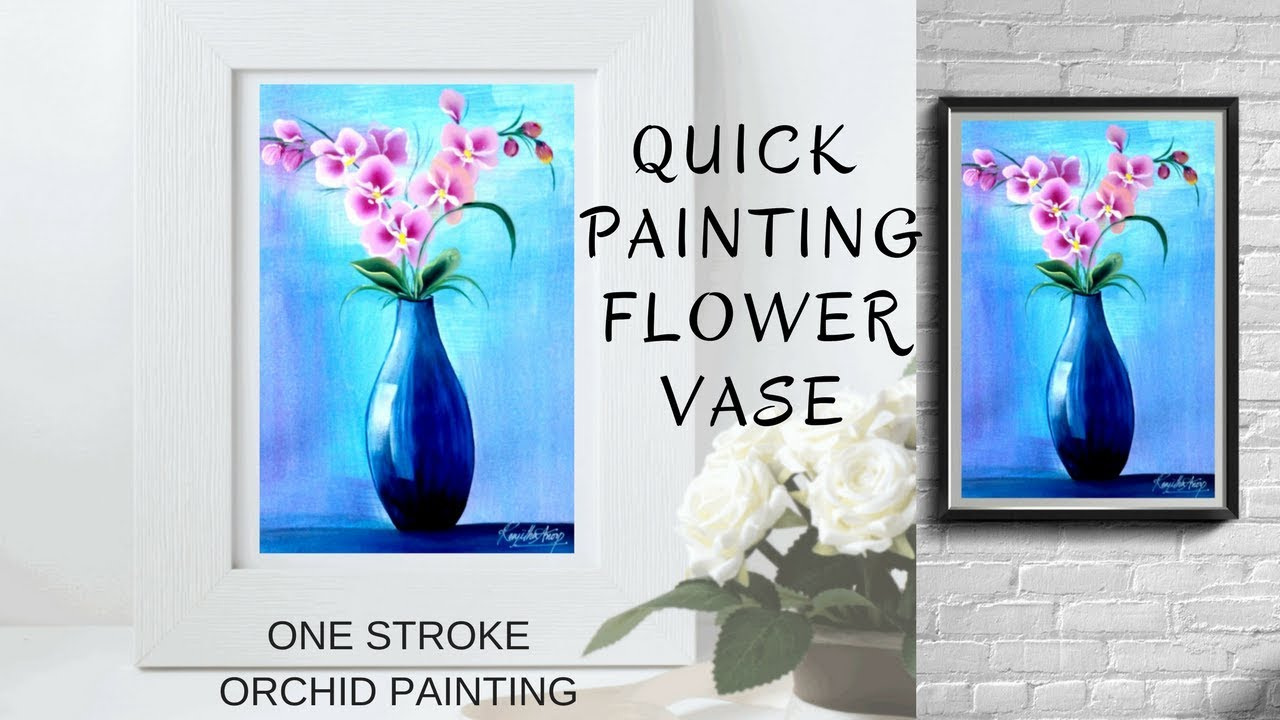 How To Paint Blue Vase With Flowers Quick And Easy