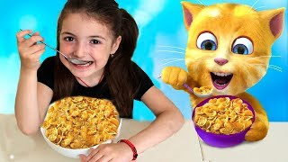Masha helps and plays with funny talking cat