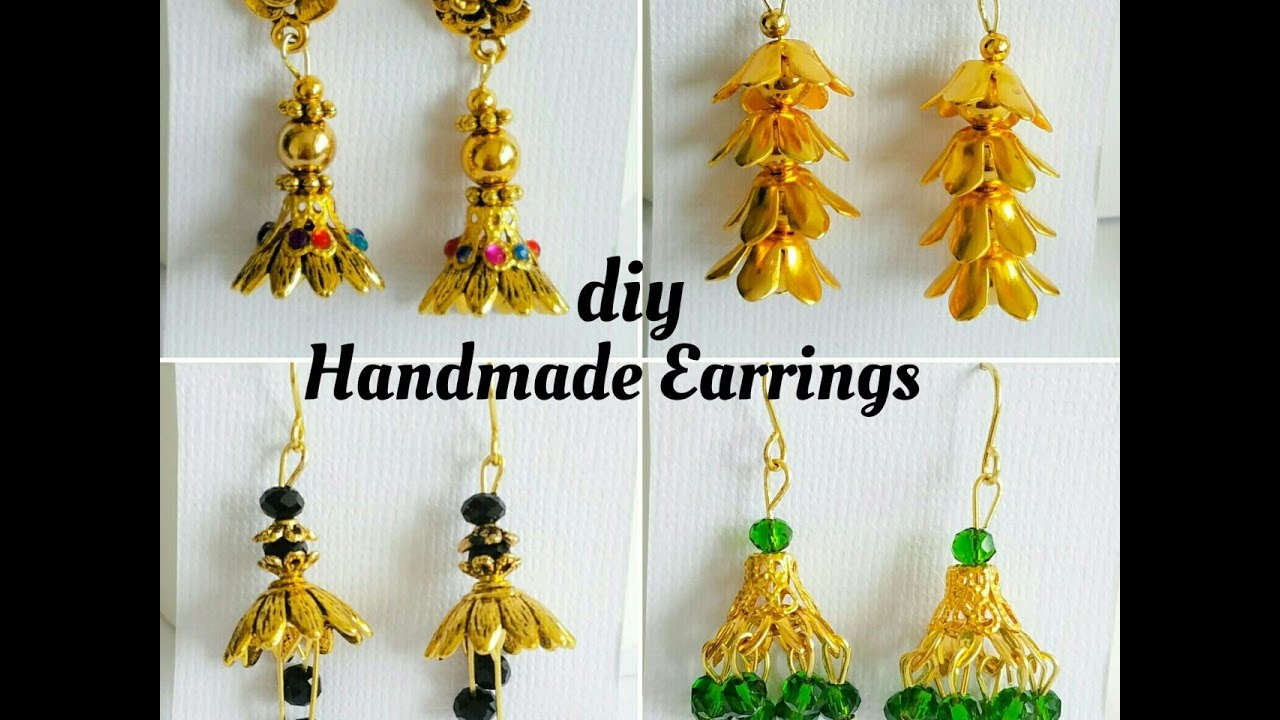 How To Make Simple Earrings With Bead Caps|Making easy earrings at ...