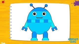 как нарисовать мультяшного робота для детей. Учимся рисовать. Рисунки Уроки рисования для начинающих