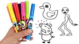 Drawing & Coloring with Surprise Toys Dame Tu Cosita Alien George Pig Paw Patrol Trolls Surprises