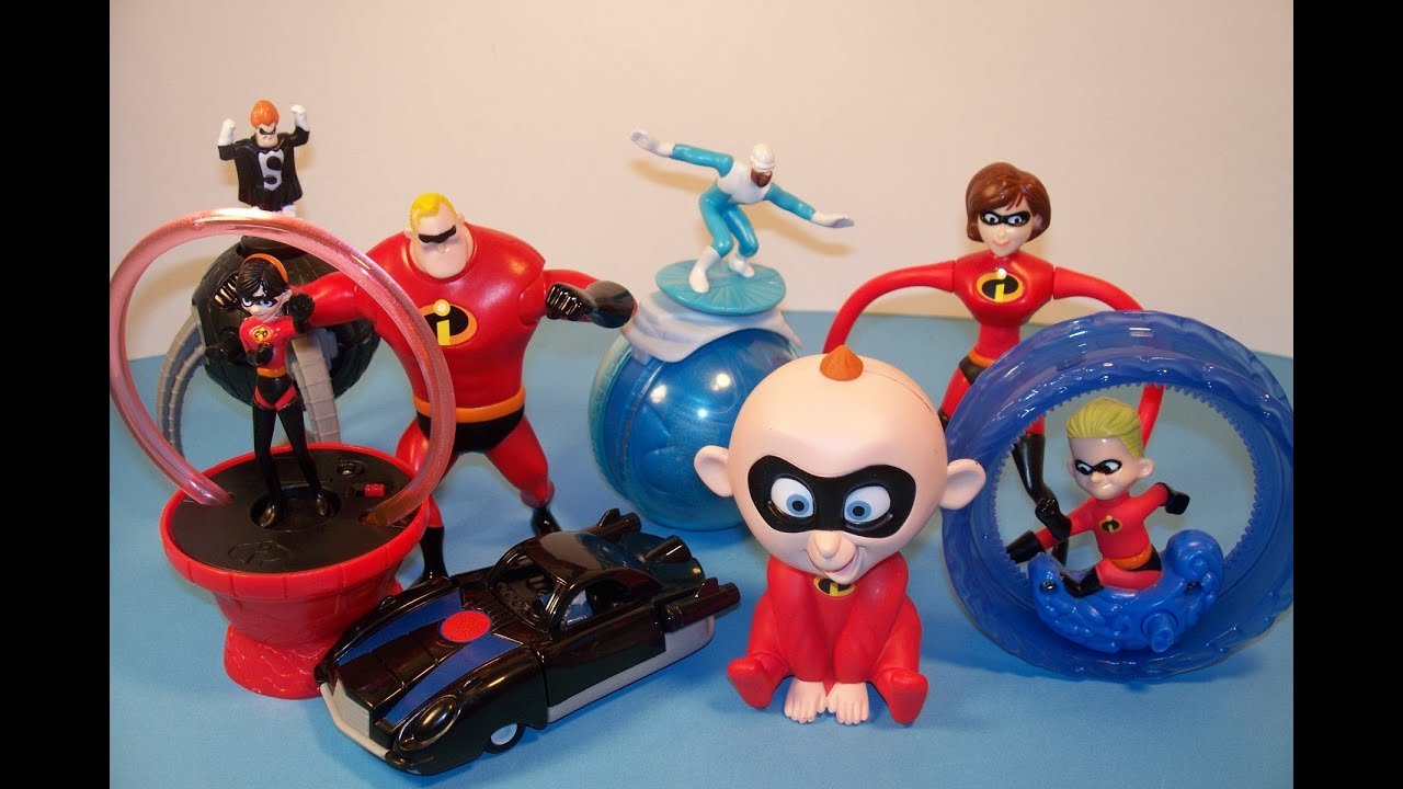 Video Happy Mcdonald's Meal 1 The Incredibles Full Set 8 Review Toy's Disney Yfvb67gy