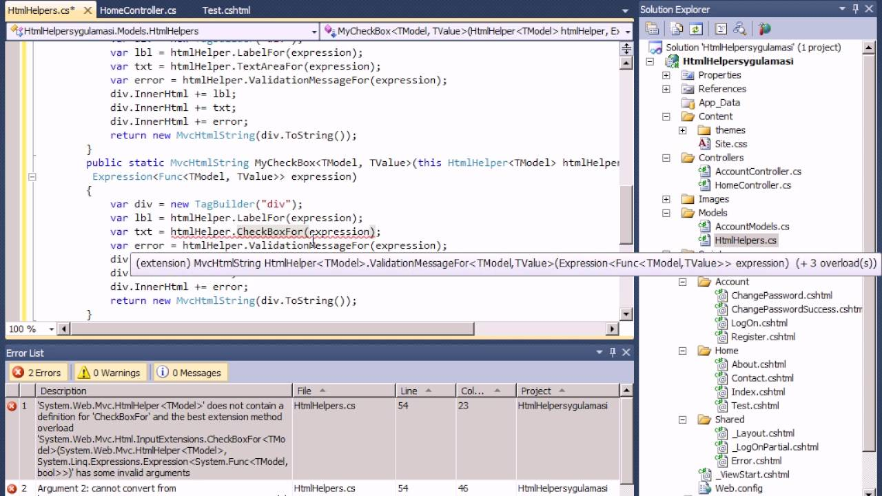 creating custom html helpers mvc 5 Creating custom html helpers using mvc 4 razor html helper methods will return string as output if we want to write your own html helper method we have to create extension methods for htmlhelper class.