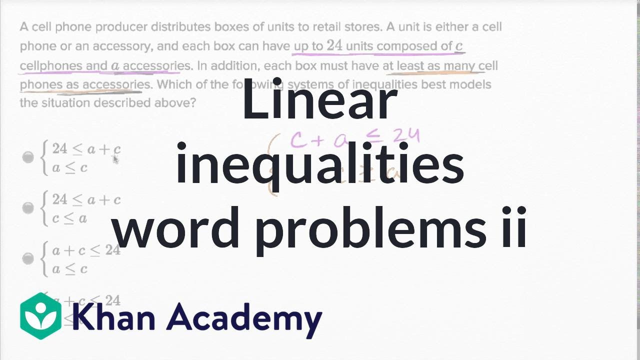 Systems of linear inequalities word problems Harder example – Linear Inequalities Word Problems Worksheet