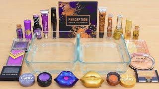 Mixing Purple Black vs Bronze Gold Makeup Eyeshadow Into Slime ASMR