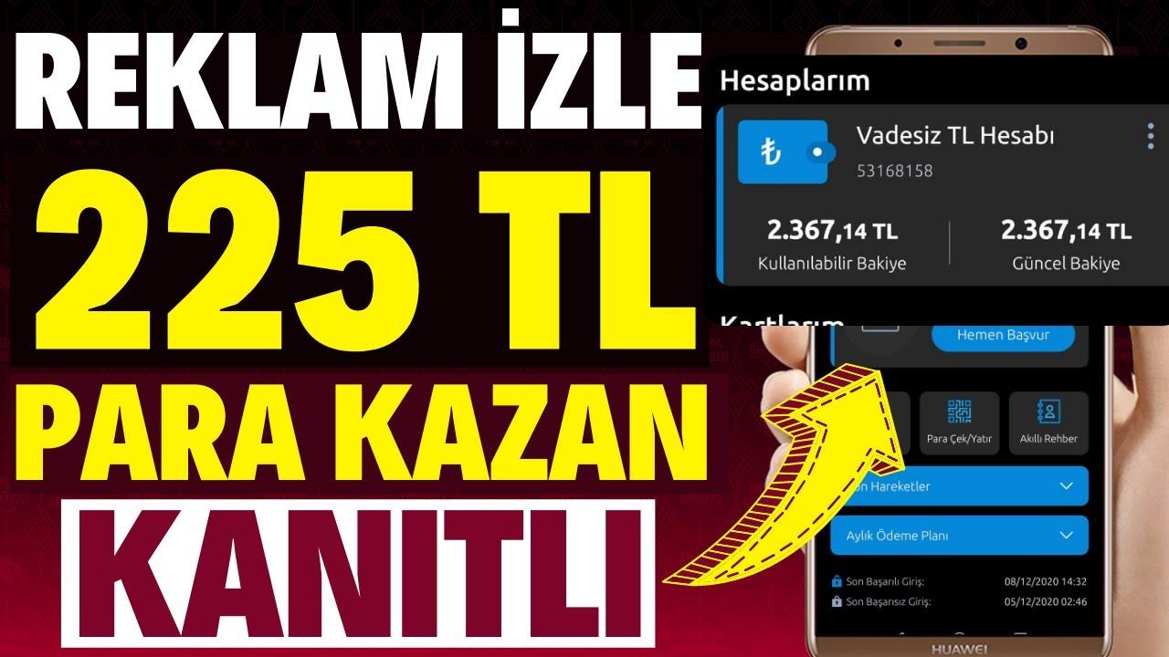 REKLAM İZLEYEREK BİR GÜNDE 225 TL PARA KAZANMA (KANITLI) - İnternetten Para Kazanma 2021