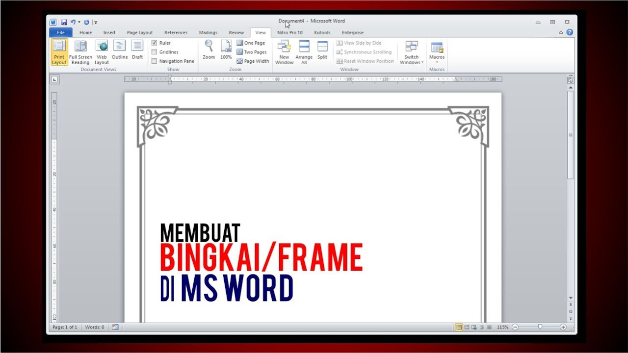 Membuat Bingkai\Frame di Ms Word - Tutorial - YouTube