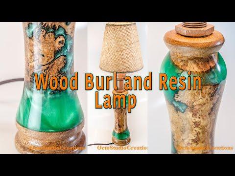Green resin and wood burl lamp DIY