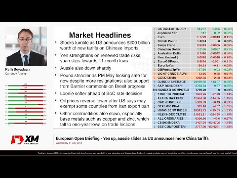 Forex News: 11/07/2018 - Yen up, aussie slides as US announces more China tariffs