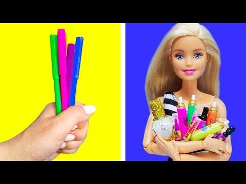 Barbie Doll Makeup Hacks. DIY Miniature Crafts for Barbie Dollhouse