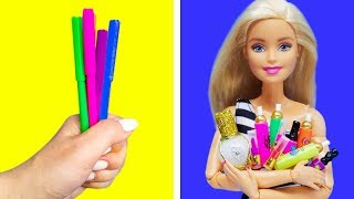 Barbie Doll Makeup Hacks. DIY Miniature Crafts for Barbie Dollhouse