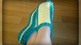 следочки - тапочки, вязание спицами