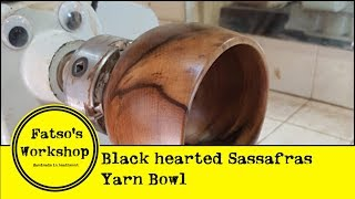 Turning a Black Hearted Sassafras yarn bowl