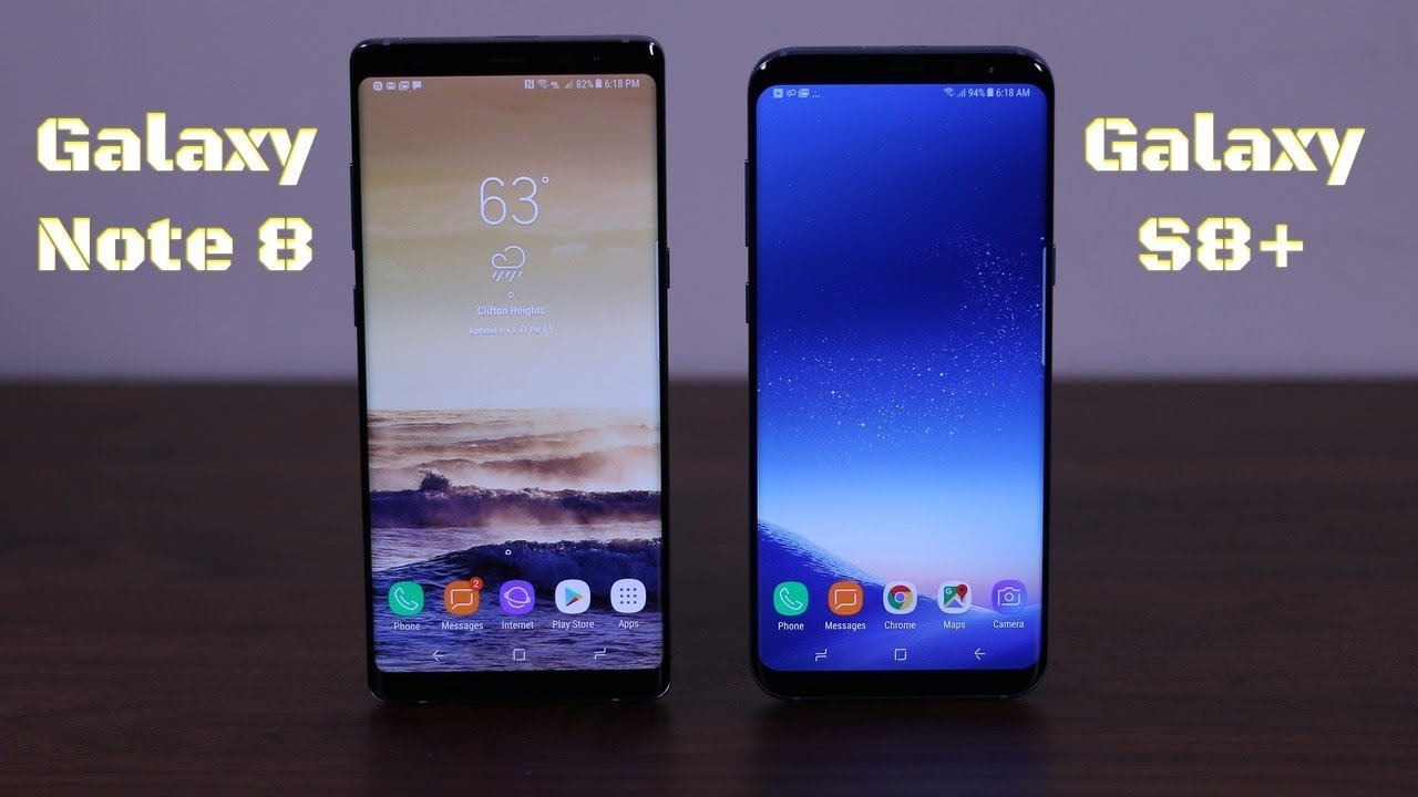 samsung galaxy note 8 vs galaxy s8 plus youtube autos post. Black Bedroom Furniture Sets. Home Design Ideas