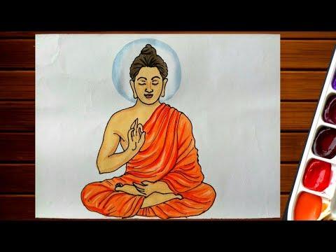 Buddha Purnima Drawing||How To Draw Goutam Buddha Easy