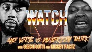 WATCH: AYE VERB vs NU JERZEY TWORK with GEECHI GOTTI and MICKEY FACTZ