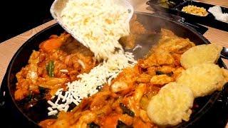 Cheese Spicy grilled chicken(Dak-galbi) - Hongdae Seoul Korea