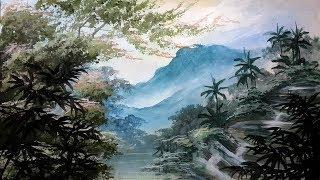 Melukis pemandangan sawah untuk pemula acrylic painting