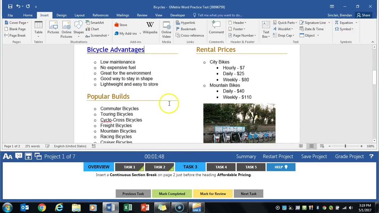GMetrix Word 2016 Core Practice Exam 1 - Project 1 (Bicycles)