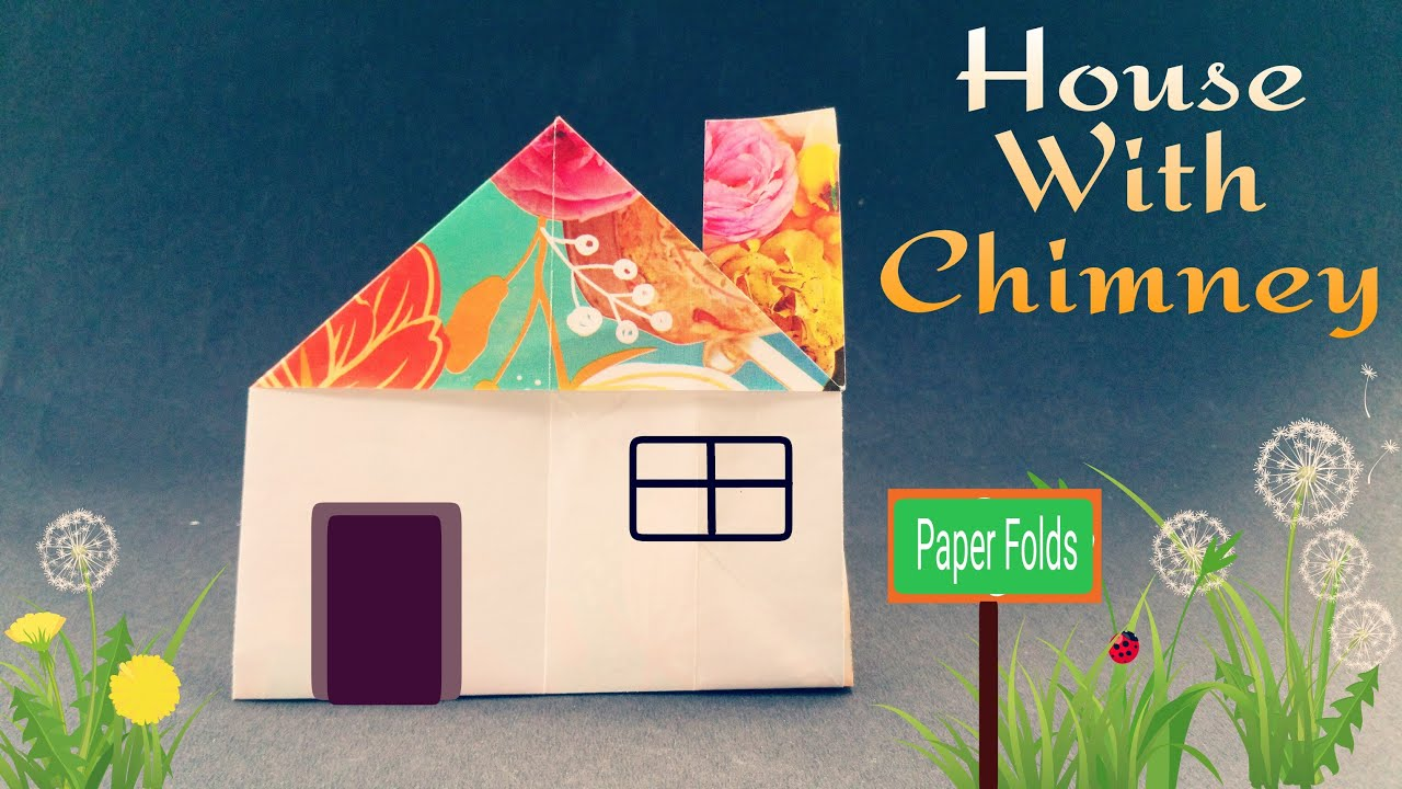 "How to make a Paper ""House with Chimney"" - Easy Origami ... - photo#9"