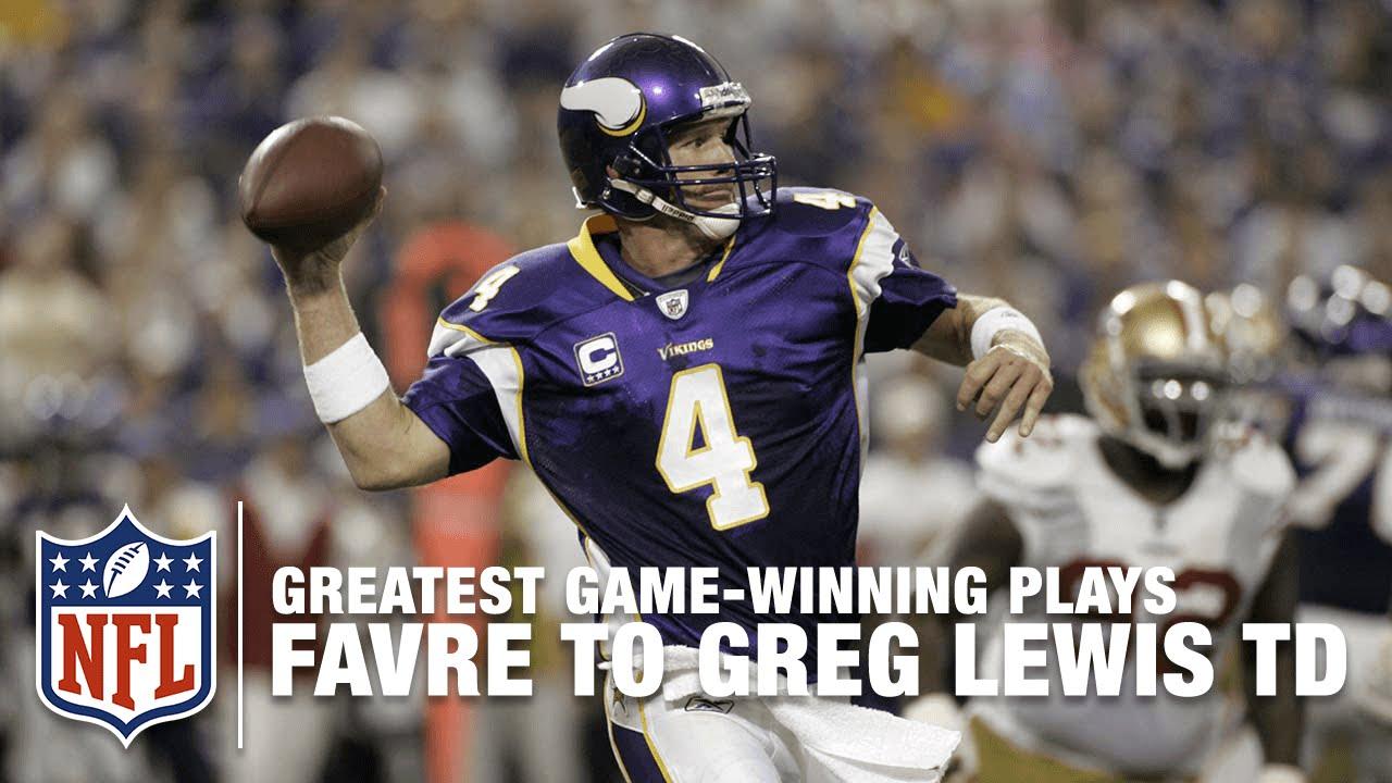 online retailer 973e8 35a47 2009 Brett Favre To Greg Lewis Back of the End Zone Game-Winning TD |  Vikings vs. 49ers | NFL