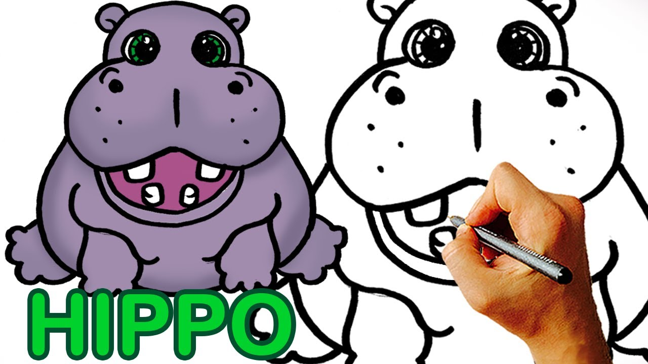 Very Easy! How to Draw Cute Cartoon Hippo Art for Kids ...