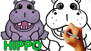 Very Easy! How to Draw Cute Cartoon Hippo  Art for Kids.