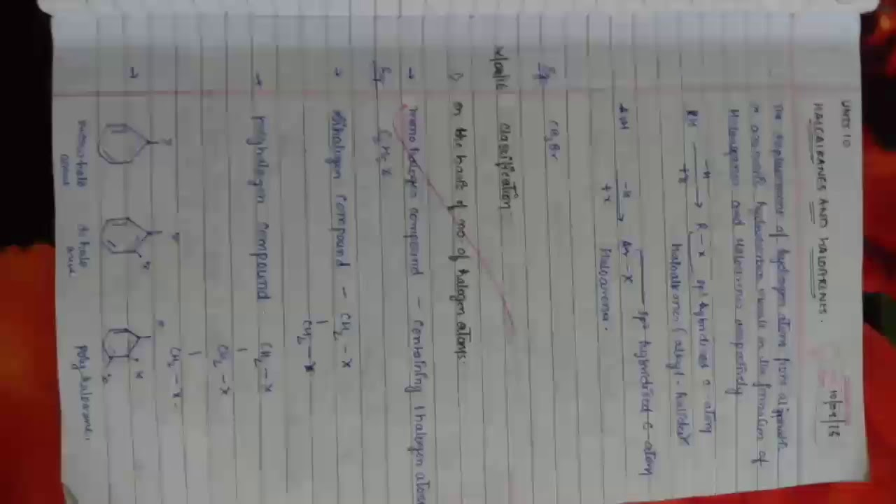 Chemistry Class 12th CBSE organic chapter 10 haloalkanes and haloarenes  important notes