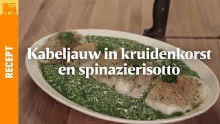 Kabeljauw in kruidenkorst en spinazierisotto