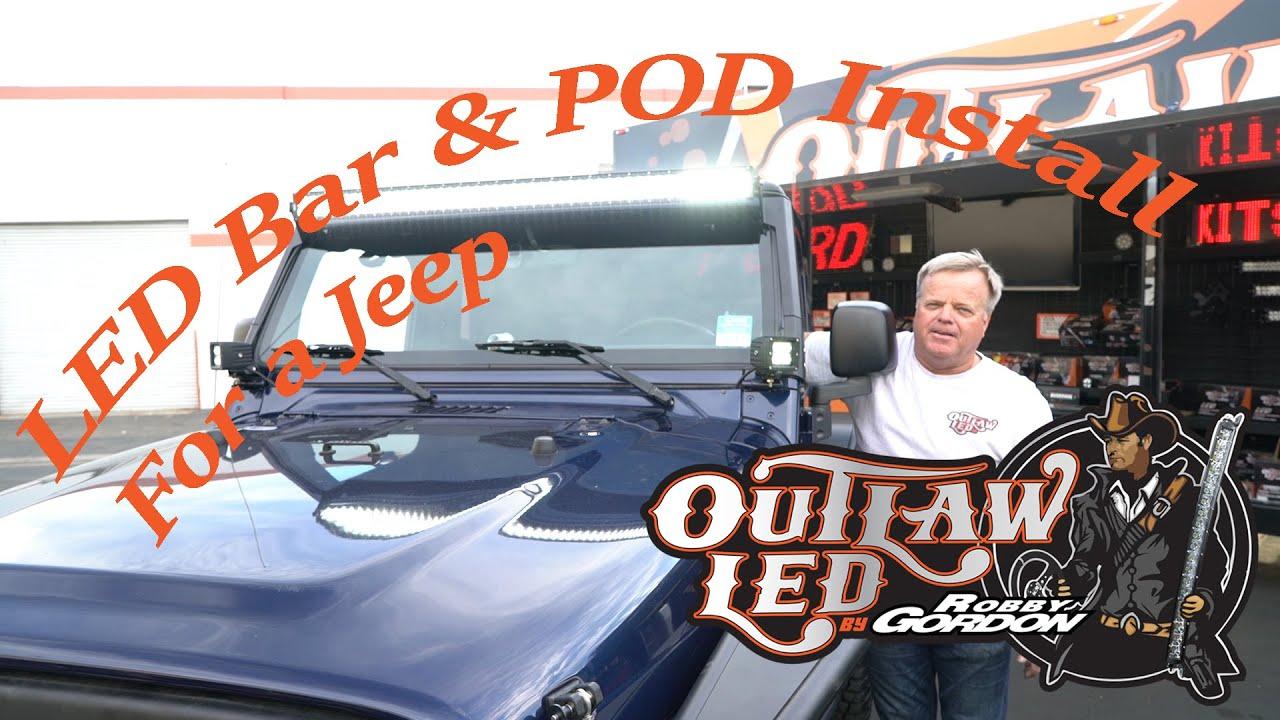 Jeep TJ JK LED Light Bar Pod Install Outlaw LED by Robby