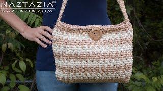Learn How to Crochet Sweet Simple Handbag - Purse Bolsa Bag DIY Tutorial from Naztazia