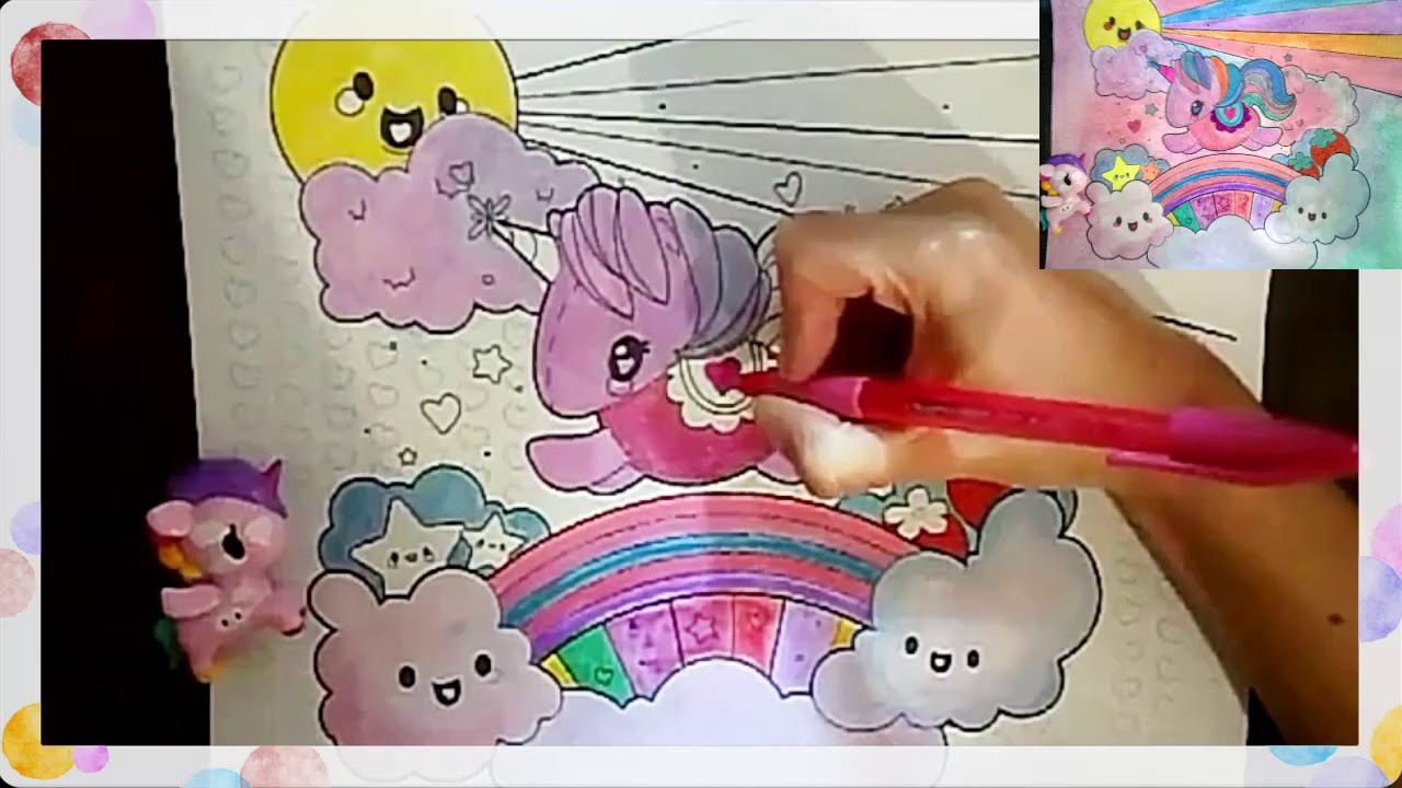 cute rainbow unicorn coloring page color with me youtube