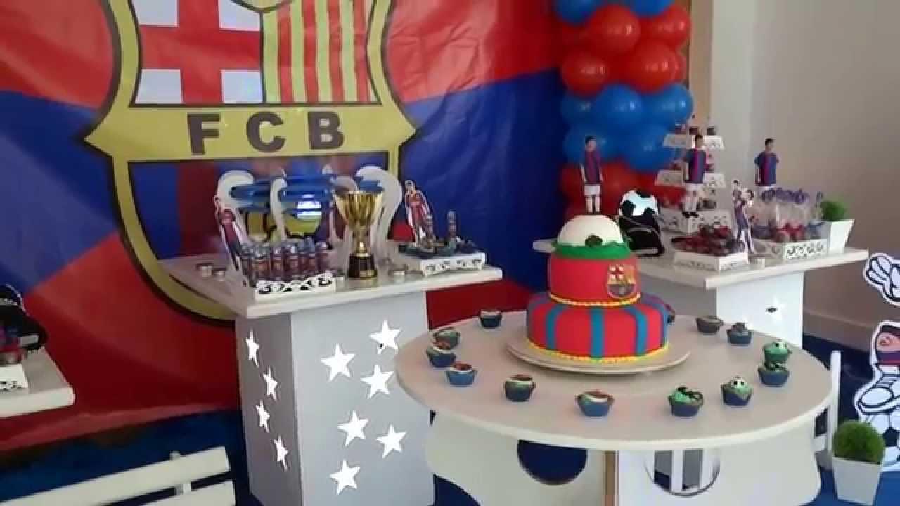 Barcelona - Decoração com tema de futebol para festa de aniversário de  meninos - YouTube 128913c71e4d7