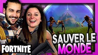 WE'RE SAVING OUR BASE FROM ZOMBIES! FORTNITE COOP MODE HISTORY HISTORY SAUVER THE WORLD