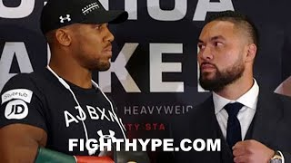 (INTENSE) ANTHONY JOSHUA AND JOSEPH PARKER FIRST FACE-TO-FACE STAREDOWN; SIZE EACH OTHER UP
