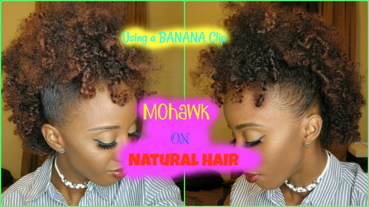 How to do a Mohawk on natural hair using a banana clip