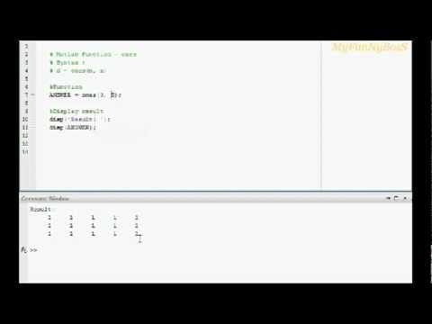 ones function matlab - YouTube
