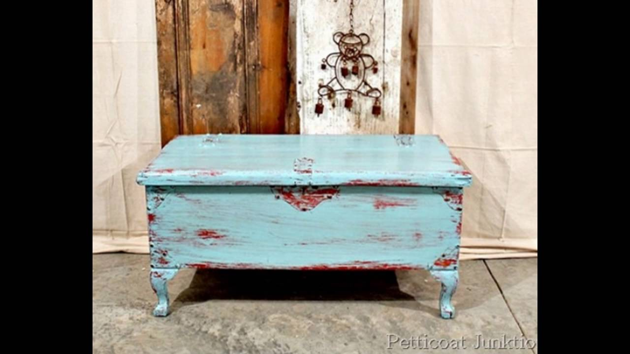white and blue distressed furniture - YouTube