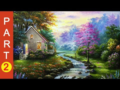 A pretty woodland garden in springtime painting – Part 2