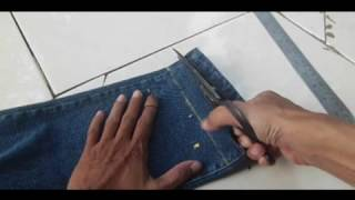 cara menjahit kelim celana jeans yang di potong dengan benang yang sama